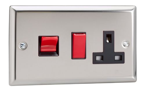 Varilight XC45PB Classic Mirror Chrome 45A DP Cooker Switch + 13A Switched Socket
